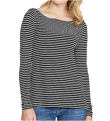 Three Dots Classic Stripe Long Sleeve Boat Neck Tee