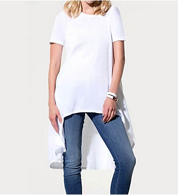Three Dots Jersey Colette Short Sleeve Scoop High Low Top