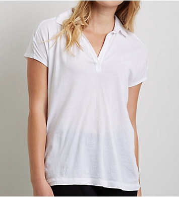 Three Dots Jersey Colette Susan Cap Sleeve Polo Tee