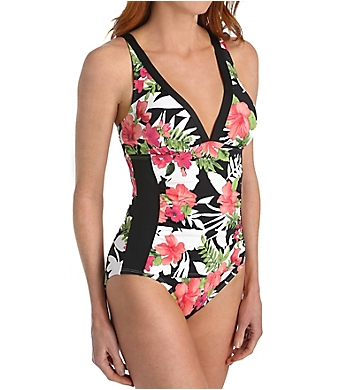 Tommy Bahama Victoria Blooms V-Neck One-Piece Swimsuit