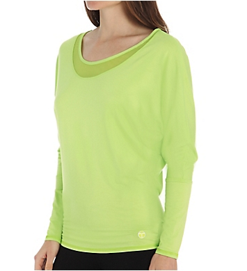 Trina Turk Mesh and Jersey Dolman Long Sleeve Top