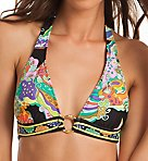 Sea Garden Ring Front Halter Swim Top